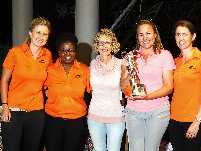 VFAPU Golf Day winners Michelle Wilson and Ashleigh Pringle with Africa Albida Tourism staff Tyla Crabbe, Nommy Vuma and Keara O.JPG