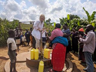 Fiona Jeffery OBE At Handpump In Buguluube, Uganda