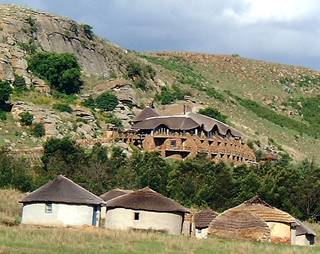 Isandlwana Lodge with village below.jpg