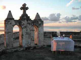 Main fort dinner overlooking ocean Ibo Island Lodge.JPG